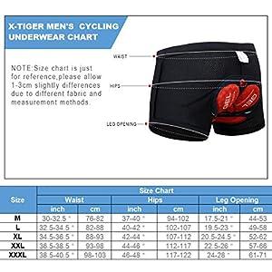 X-TIGER Hombres Ropa Interior de Bicicleta con 5D Gel Acolchado MTB Ciclismo Pantalones Cortos,Color Negro con Rojo, XXL(CN)=XL(EU)