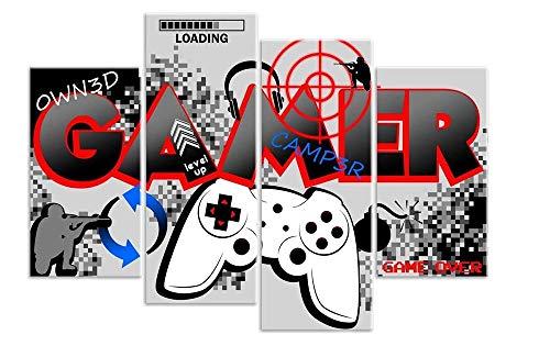 HNBDH Impresiones sobre Lienzo Designs Boys Gamer Controlador De Computadora Gaming 4 Piezas Imagen En Lienzo De Cuadros 100 X 160 Cm