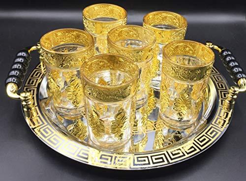 Juego de té marroquí Completo, Bandeja de 29cm diámetro con asas y 6 Vasos dorados (DORADO-SIN-T)