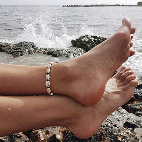 Mayelia Boho - Tobillera de conchas de playa, tobillera ajustable para mujeres y niñas