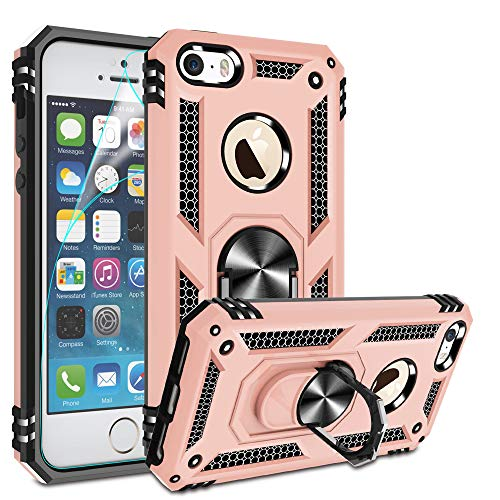 iPhone 5 Case, iPhone 5s Case, iphnoe se Case with HD Screen Protector,Gritup 360 Degree Rotating Metal Ring Holder Kickstand Armor Anti-Scratch Bracket Cover Case for Apple iPhone 5/5s/se Rose Gold