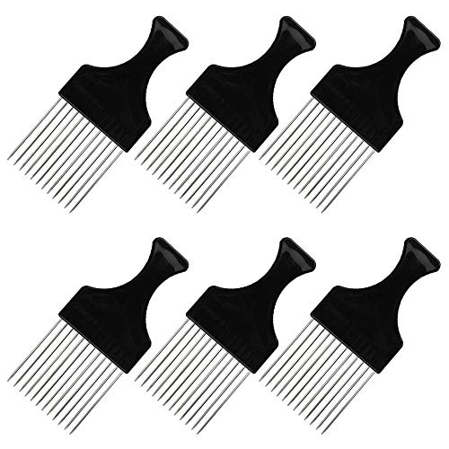 6 Packs Afro Comb Metal Pick Comb, findTop Afro Braid Pick Hairdressing Detangle Wig Braid Hair Styling Comb Styling Tool- Black