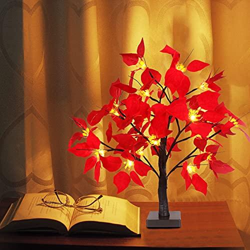 DADEA Lámpara de mesa LED con hojas de arce, lámpara de mesa de árbol de 19 pulgadas, luces de árbol de Navidad, lámpara de rama, decoración de Pascua para el hogar, decoración de Halloween