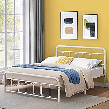 VECELO Vintage Metal Bed Frame Full Size Platform with Headboard and Footboard,Premium Steel Solid Sturdy Metal Slat Support/No Box Spring Needed