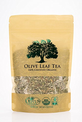 Olive Leaf Tea - Certified Organic - Non-GMO (4 ounce) - Sourced from Spain and Manufactured in USA - Loose Leaf Herbal Tea - Antioxidant Immunity Support for Health Wellness & Vitality
