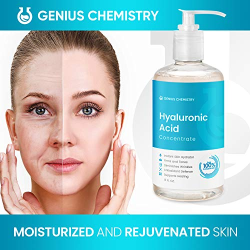 51nfBWA0oPL - GENIUS Hyaluronic Acid Serum 8OZ, Pure Organic HA, Anti Aging, Anti Wrinkle, The Smart Face Moisturizer for Dry Skin and Fine Lines, Leaves Skin Full and Plump, Pump Bottle by Genius Chemistry