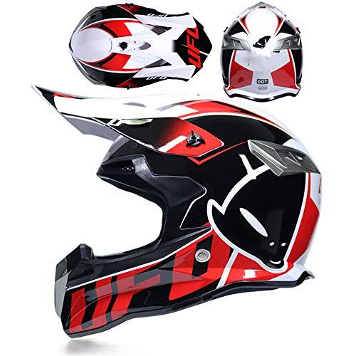 LOOSE Motocicleta para Adultos Casco Todoterreno Dot/MX ATV Dirt Bike Motocross UTV Full Face Casco MX Enviar Guantes Gafas máscara,XXL