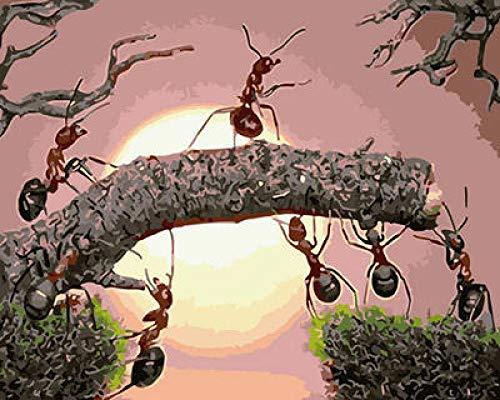 Pintar por Numeros DIY Hormigas en arbol con Pinceles y Acrílica Pinturas Kits home decoración del Arte 40 x 50 cm(Sin Marco)
