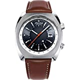 Alpina Men's Stainless Steel Swiss Automatic Sport Watch with Leather Strap, Black, 23 (Model: AL-555DGS4H6)