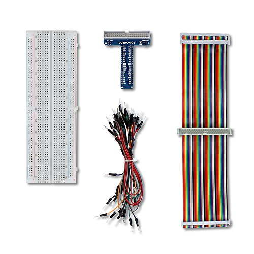 UCTRONICS GPIO Breakout Kit for Raspberry Pi - Assembled Pi T- Type Breakout + 830 Tie Points Solderless Breadboard + 40 Pin Male - Female - Male Rainbow Ribbon Cable + 65pcs Jump Wires