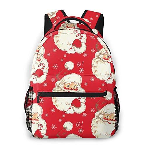 Christmas Santa Red Vintage Fashion Backpack for Girls Boys 3D Design Print Cute School Bag Bookbag Daypack