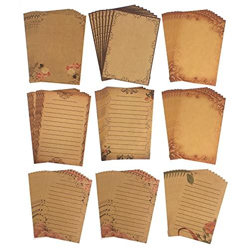 72 Piezas A5 Hojas Papel Kraft 9 Estilos Papel de Escribir Vintage Papel de Carta de Amor Hojas de Escribir A5 Papel Vintage Para Escribir e Imprimir Impresoras de Bricolaje