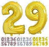 Globo numero 29 o 92 dorado. Globos Gigante números 2 9 del 0 al 99 fiestas cumpleaños decoración fiesta aniversario boda tamaño grande 70 cm con accesorio para inflar aire o helio (29/92 Oro)