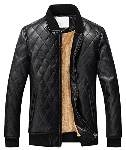 chouyatou Men's Casual Diamond-Quilted Sherpa Lined Pu Leather Bomber Jacket (Small, Black)