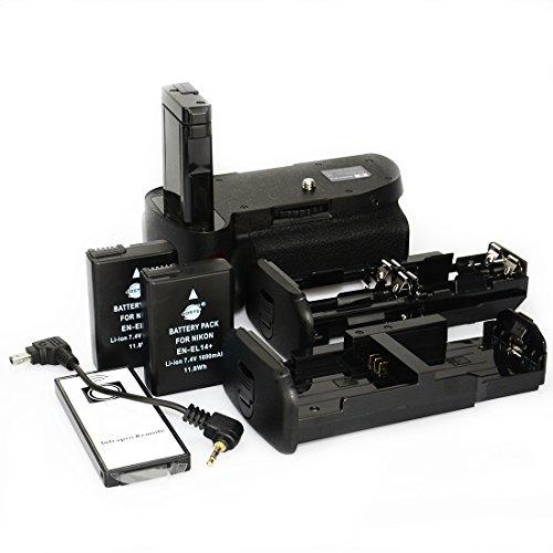 DSTE® Remoto Vertical Batería Apretón Titular para Nikon D5100 D5200 DSLR Cámara Fotográfica con 2-pack EN-EL14