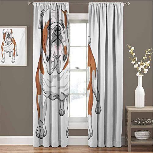 Toopeek - Juego de cortinas opacas para perros musculares con diseño de bosquejo de animales de raza canina pura para jardín de infancia (84 x 200 cm), color marrón y blanco
