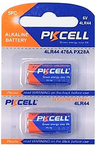 2 x 4LR44 6V (1 Blister a 2 Batterien) Quecksilberfreie Alkaline Batterien PX28, 4G13, 476A, L1325 EINWEG PKCELL