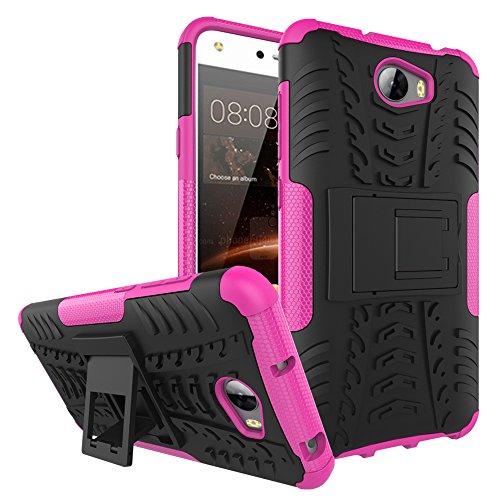 QiongniAN Funda para Huawei Y6 II Compact,Teléfono con Soporte a Prueba de Golpes Funda para Huawei Y6II Compact LYO-L21 LYO-L01 / Y6 II Compact Carcasa Case Funda Pink