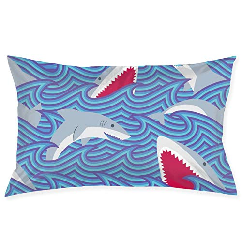 LESLIEYU Ultra-Soft Pillow Protectors Cases Covers, Swimming Sharks Attack Rectangle Sofa Pillowcases Shams with Zippered, Waist Cushion Throw Pillow Cover for Couch Bed Bedroom Chair (20 x 30)