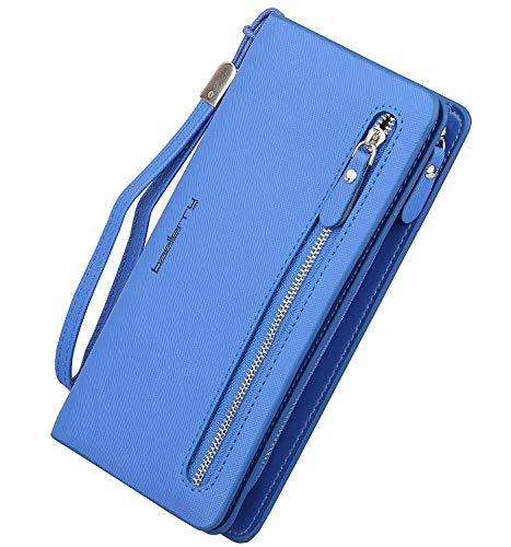 Women's Long PU Leather Wallet with Credit Card Holders Money Organizer Zipper Purse Wristlet HnadbagHandbag (A Blue)