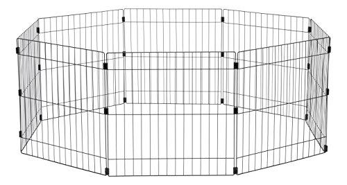 Iris Ohyama, Welpenauslauf / Hundelaufstall für außen, 1,7 m², 8 Elemente, Tür mit Verschlussriegel, Verbindungsstücke für einfache Montage und Demontage, für Hund - Wire Pet Circle