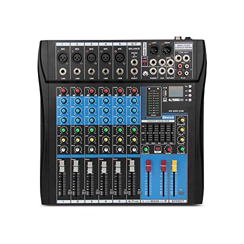 XTUGA Professional Audio Mixer Sound Board Console ES602 USB/MP3/Bluetooth Stage Audio Mixer Built-in Digital Effect Mixer Music Mixer 7 Channels Mixer +48Vpower (black)