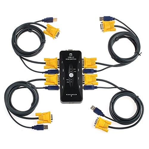 AUTOUTLET - Conmutador KVM USB 2.0 con 4 puertos KVM y 4 cables KVM USB VGA de alta calidad para ordenador, teclado y monitor de ratón, 1,5 m
