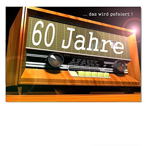 DigitalOase Einladungskarten 60. Geburtstag MIT INNENTEXT Geburtstagskarten MENGE WÄHLBAR Klappkarten Kuverts Format DIN A6#RADIO (10)