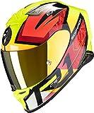 Scorpion NC Casco per Moto, Hombre, Negro/Rojo/Amarillo, M