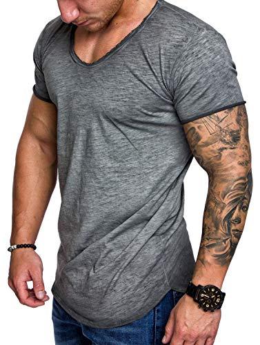 Ehpow T Shirts Herren Summer Rundhals Sport Laufen Top Tees Kurzarm Fitness T-Shirt (Large,Grau-2)