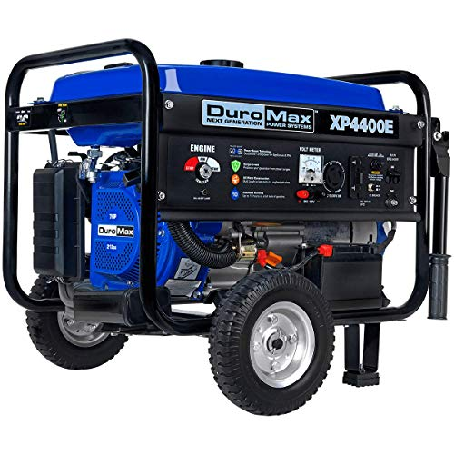 DuroMax XP4400E Gas Powered Portable Generator - 4400 Watt -Electric Start- Camping & RV Ready, 50 State Approved,Blue and Black