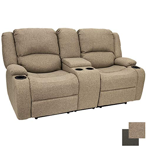 Charles 70' Powered Double RV Wall Hugger Recliner Sofa | Loveseat | RV Furniture | Cloth (Oatmeal)