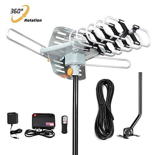 HDTV Antenna,GET Amplified Digital TV Antenna 150 Miles Range 360° Rotation Outdoor Digital HDTV Antenna-Wireless Remote with Adjustable Mount Pole