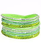 Caripe Damen Armband Strass Glitzer Wickelarmband, strala (Modell 1 hellgrün)