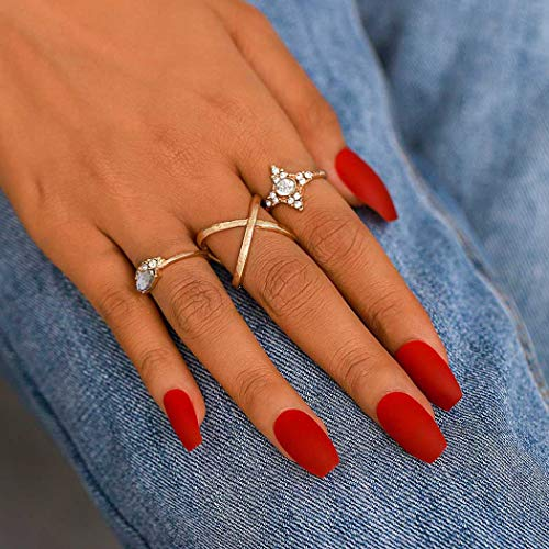 Campsis Matte Coffin Fake Nails Red Press on Nails Acrylic Long False Nails for Women and Girls (Pack of 24)