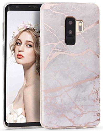 Galaxy S9 Plus Case, Imikoko S9 Plus Case Gray Shiny Rose Gold Marble...
