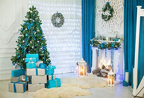 YongFoto 3x2m Fotografie Achtergrond Nieuwjaar Kerst Decoratie Bomen Geschenken Open haard Kaarsen Kerstmis Garland Blauwe Gordijnen Witte Muur Photo Backdrops Holiday Party Fotoshoot Achtergrond Studio Props