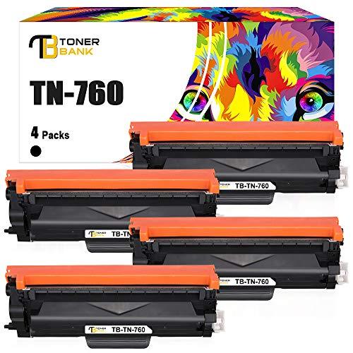 Toner Bank Compatible Toner Cartridge Replacement for Brother TN760 TN-760 TN730 TN-730 for MFC-L2710DW HL-L2350DW HL-L2390DW DCP-L2550DW MFC-L2750DW HL-L2395DW HL-L2370DW Printer Ink (Black, 4-Pack)