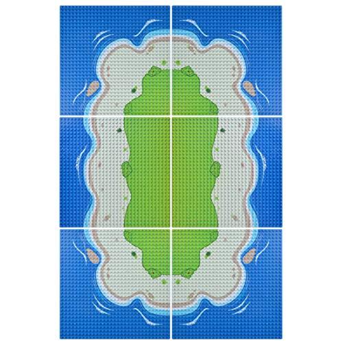 12che 6st Baustein Grundplatte Insel Fluss Grundplatten für Kleines Teilchen Bauklötze, Bauspielzeug - 32 * 32cm