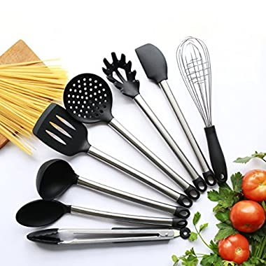 8 Piece Kitchen Utensil Set - Stainless Steel and Black Silicone - Modern Nonstick Utensils Cooking Tools including Serving Tongs, Spoon, Spatula Tools, Pasta Server, Ladle, Strainer, Whisks