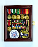 XS Military Pin Display Case Cabinet Box for Medals Pins Patches Insignia Ribbons w/98% UV Lockable -Cherry