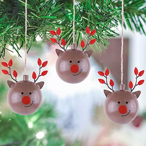Valery Madelyn 24 Pezzi Natale Ciondolo in Legno Abete Renne Stelle Ornamenti con Appendere 6 cm di Altezza con 4 Motivi Articoli Natalizi addobbi per Alberi di Natale per Albero di Natale Finestra