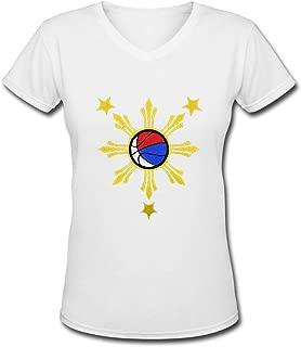 Women's Short Sleeve V Neck Basketball Filipino Philippine Flag Funny T-Shirt