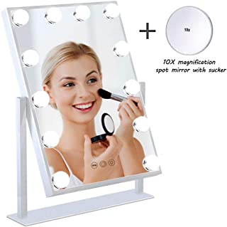 ANNSAN Hollywood Lighted Vanity Mirror With 12 Dimmable LED Bulbs And Touch Control Design, Three colors Adjustable Makeup Mirrors With Light Kit, Tabletop Makeup Cosmetic Mirrors, White