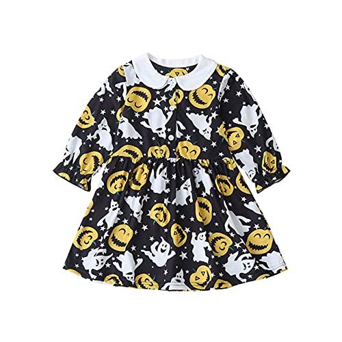 upxiang Costume Halloween Bambini Vestito Bambino Gonna Zucca Stampa Manica Lunghe di Halloween Abbigliamento Costume Partito Abito Tuta Regalo Dress per 0-6 Anni