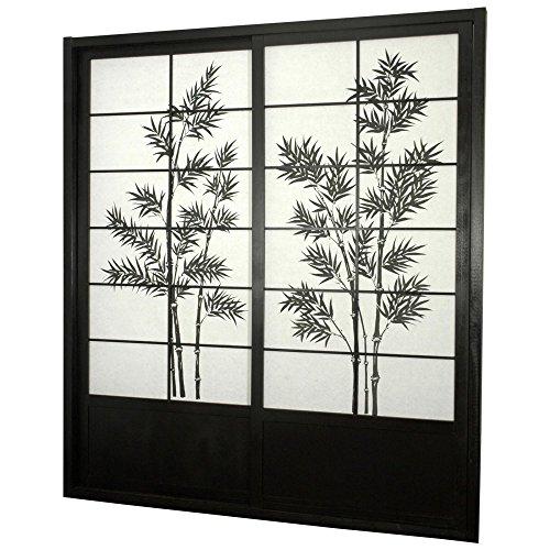 %13 OFF! Oriental Furniture 7 ft. Tall Bamboo Tree Shoji Sliding Door Kit - Black