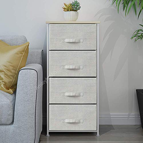 Huisen Furniture Unit Tall Storage Beside Cabinet with 4 Drawers Living Room Hallway Narrow Sideboard Unit Organizer Chest of Drawers for Bedroom Metal Frame with Grey Fabric Drawer