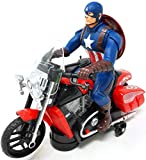 BEAU STUTI Battery Operated Captain America Civil War Motorcycle Bike Toy with IC Sound Bump & Go...