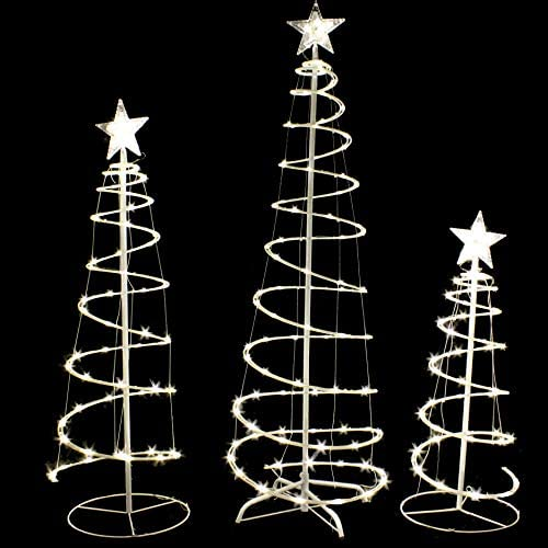 Joiedomi 3 Packs Lighted Spiral Christmas Tree Set 218 LED Warm White Yard Lights for Christmas product image