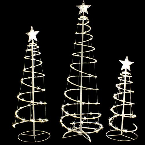 Joiedomi 3 Packs Lighted Spiral Christmas Tree Set 218 LED Warm White Yard Lights for Christmas Outdoor Yard Garden Decorations, Christmas Event Decoration, Christmas Eve Night Decor